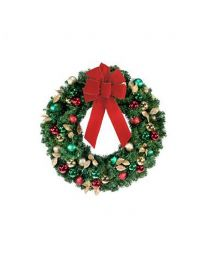 "24"" Decorated Wreath, Traditional Decor, Unlit"