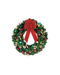 "24"" Decorated Wreath, Traditional Décor, Unlit"