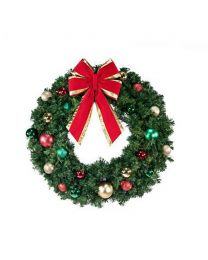 "36"" Decorated Wreath, Colors of the Holidays, Unlit"