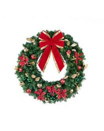 "36"" Decorated Wreath, Elegant Poinsettia, Unlit"