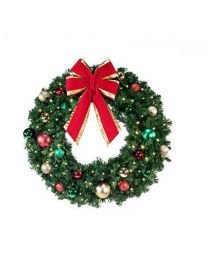 "36"" Decorated Wreath, Colors of the Holidays, Lit"