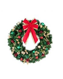 "36"" Decorated Wreath, Traditional Decor, Lit"
