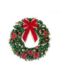 "36"" Decorated Wreath, Elegant Poinsettia, Lit"