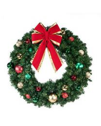 "48"" Decorated Wreath, Colors of the Holidays, Unlit"