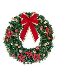 "48"" Decorated Wreath, Elegant Poinsettia, Unlit"
