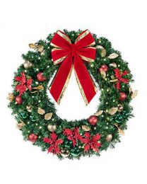 "48"" Decorated Wreath, Elegant Poinsettia, Lit"