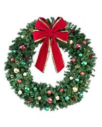 "60"" Decorated Wreath, Colors of the Holidays, Unlit"