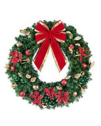 "60"" Unlit Wreath Decorated Elegant Poinsettia"