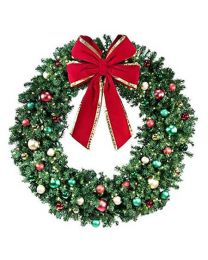 "60"" Decorated Wreath, Colors of the Holidays, Lit"