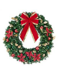 "60"" Decorated Wreath, Elegant Poinsettia, Lit"
