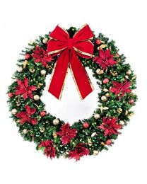 """60"""" Decorated Wreath, Elegant Poinsettia, Lit"""
