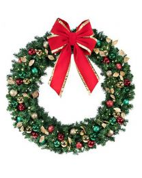 "60"" Decorated Wreath, Traditional Décor, Lit"