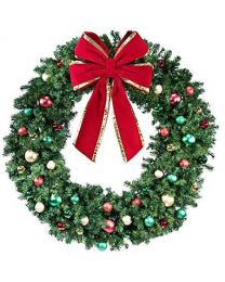"72"" Unlit Wreath Decorated Colors of the Holidays"