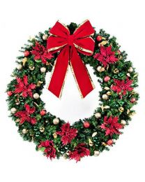 "72"" Decorated Wreath, Elegant Poinsettia, Unlit"