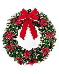 "72"" LED Wreath Decorated Elegant Poinsettia"