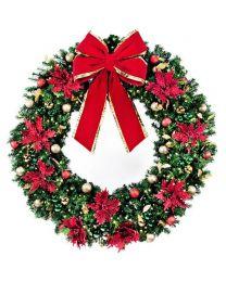 """72"""" Decorated Wreath, Elegant Poinsettia, Lit"""