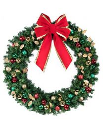 "72"" Decorated Wreath, Traditional Décor, Lit"