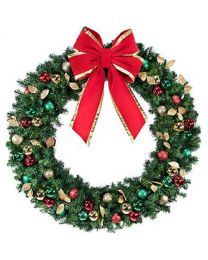 "72"" Unlit Wreath Decorated Traditional Decor"