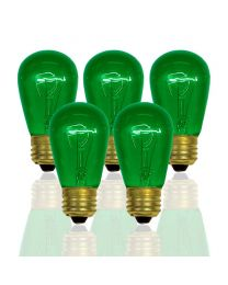 S14 11 Watt, Transparent, Green, Box of 20, Medium Base
