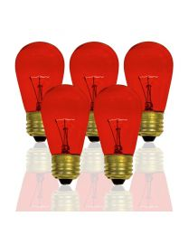 S14 11 Watt, Transparent, Red, Box of 20, Medium Base