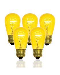S14 11 Watt, Transparent, Yellow, Box of 20, Medium Base