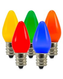 C7 LED Retrofit Bulb - Frosted Smooth - Multi - Minleon - Bag of 5
