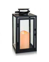 "Metal LED Candle Lantern, 5 1/2"" x 5 1/2"" x 11"", Black"