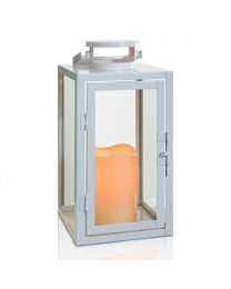 "Metal LED Candle Lantern, 5 1/2"" x 5 1/2"" x 11"", White"