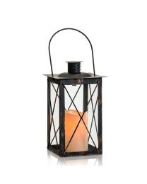 "Metal LED Candle Lantern, 6"" x 6"" x 14 1/2"", Black Antique"