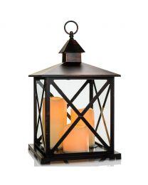 "Metal LED Candle Lantern, 9 1/2"" x 9 1/2"" x 16"", Black Antique"