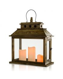 """Wooden LED Candle Lantern, 5 3/4"""" x 7 7/8"""" x 20 1/2"""", Brown"""