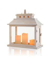 "Wooden LED Candle Lantern, 5 3/4"" x 7 7/8"" x 20 1/2"", White"