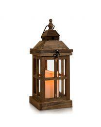 "Wooden LED Candle Lantern, 14"" x 5 1/2"", Dark Wood"