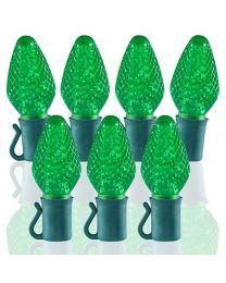 """26 Light Green C7 LED Christmas Lights - 8"""" Spacing"""