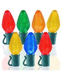"26 Light Multi C7 LED Christmas Lights - 8"" Spacing"