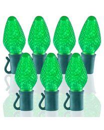 """26 Light Lime Green C7 LED Christmas Lights - 8"""" Spacing"""