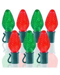 "26 Light Red & Green C7 LED Christmas Lights - 8"" Spacing"