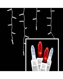 LED Twinkle Icicle Lights - 70 Light Set - Pure White & Red