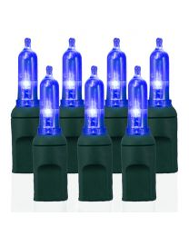 "50 Light T5 Blue LED Christmas Lights - 6"" Spacing"