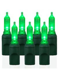 "50 Light T5 Green LED Christmas Lights - 6"" Spacing"