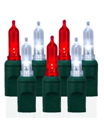 70 Light T5 Smooth Pure White & Red LED Christmas Lights