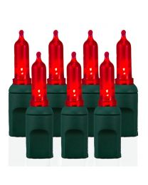 "50 Light T5 Smooth Red LED Christmas Lights - 4"" Spacing"