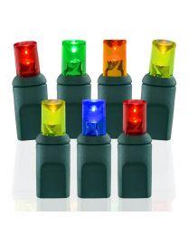 "50 Light Multi 5 mm Wide Angle Conical LED Christmas Lights - 4"" Spacing"