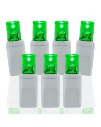 Wide Angle Conical Battery Operated LED 20 Lights - Green - White Wire