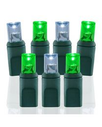 70 Light Pure White & Green 5 mm Wide Angle Conical LED Lights