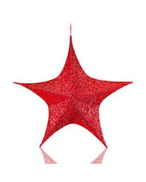 Red Foldable 3D Polymesh Star