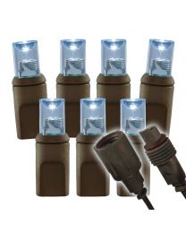"Wide Angle Conical - 6"" Spacing, 50 bulb, brown cord, UL Coaxial RY Plug - Full Wave - Pure White"