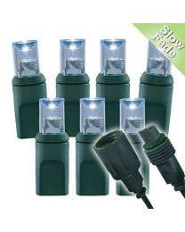 """Slow Fade Pure White Wide Angle Conical - 4"""" Spacing, 70 bulb, grn cord, UL Coxial RY Plug - Full Wave"""