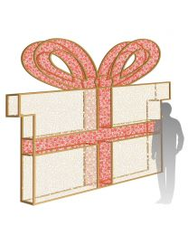 10' 3D LED Gift Box - Warm White and Red