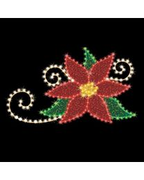 "Poinsettia Flower 4' 3"" W x 4' T, 114 Bulbs, LED"